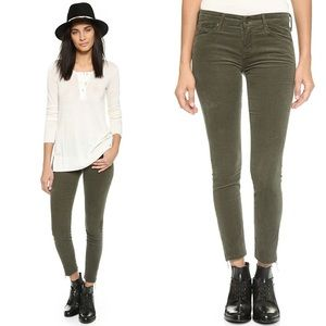 MOTHER The Looker Ankle Fray Cords Olive